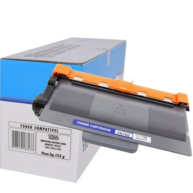 Cartucho Toner Brother TN750/3382/3332/3392 - Compatível c/ Diversas Impressoras Brother Laser